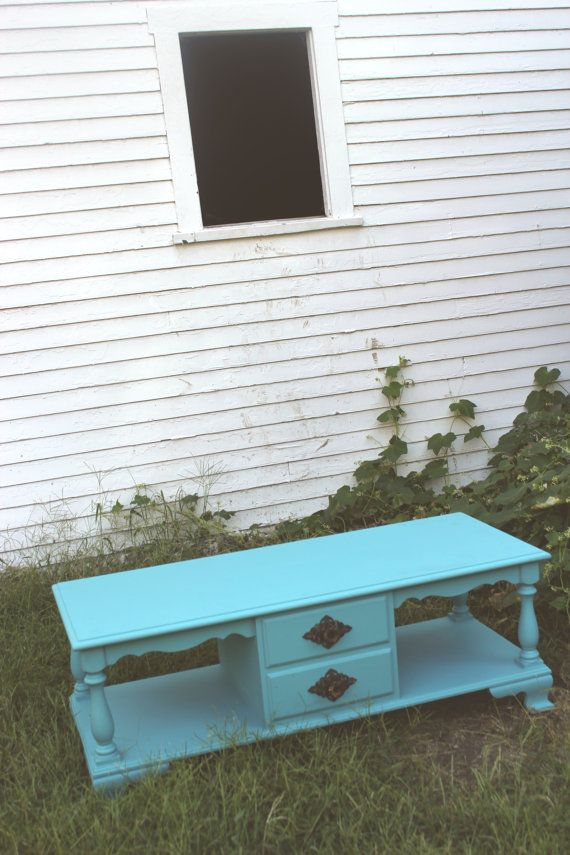 Teal Coffee Table With Drawers, Long Coffee Table, Home Decor, Distressed Furniture on Etsy, $341.24 CAD