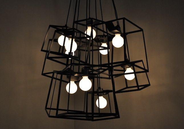 Frame Light Cluster  Powder coated steel frames surround bare bulbs @NY Design Week 2011