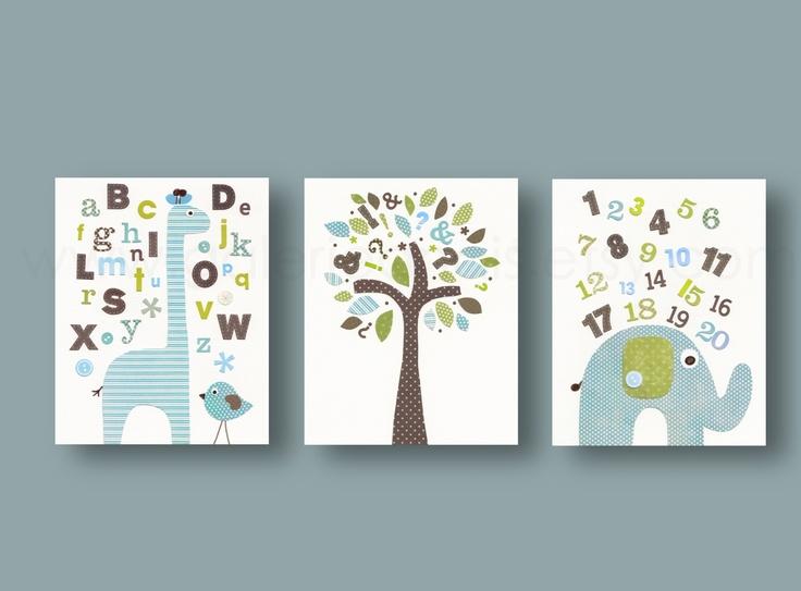 Lot de 3 illustrations pour chambre d'enfant et bebe, alphabet deco