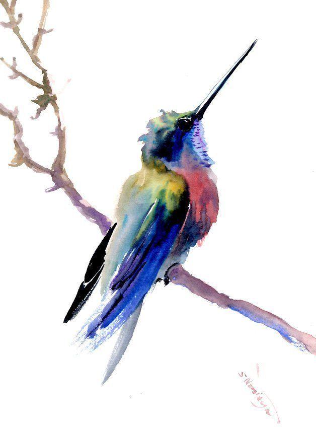 Hummingbird Artwork Bird Art Bird Painting Watercolor Bird Wall