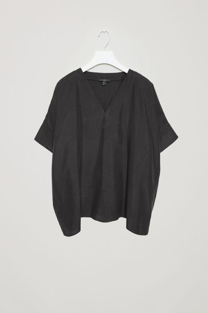 COS image 3 of Silk v-neck top in Black
