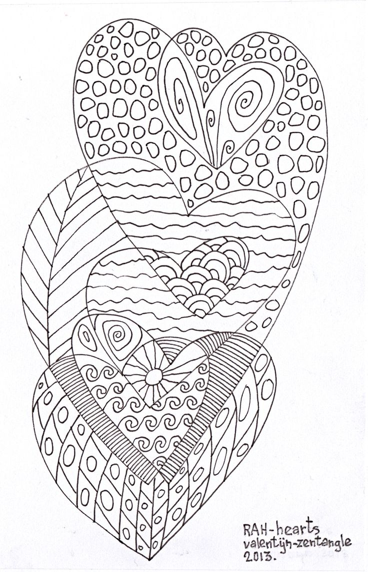 Coloring pages for adults hearts - Heart Abstract Doodle Zentangle Coloring Pages Colouring Adult Detailed Advanced Printable Kleuren Voor Volwassenen Coloriage Pour