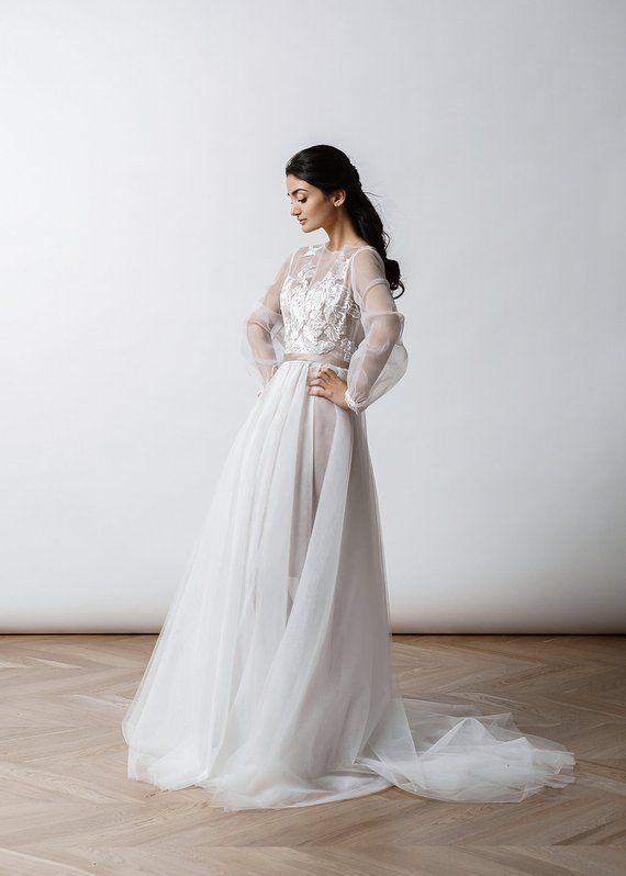 Long Sleeve Bohemian Wedding Dress Tulle Wedding Dress Long Sleeve Bohemian Wedding Dress Etsy Wedding Dress Bohemian Wedding Dress