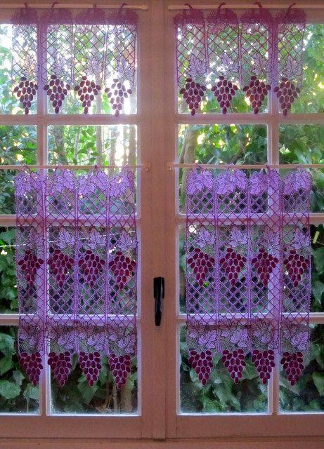 Lace Kitchen Curtains, Purple Lace Brise Bise, Set Tier Curtains, French Lace  Curtains, Macrame