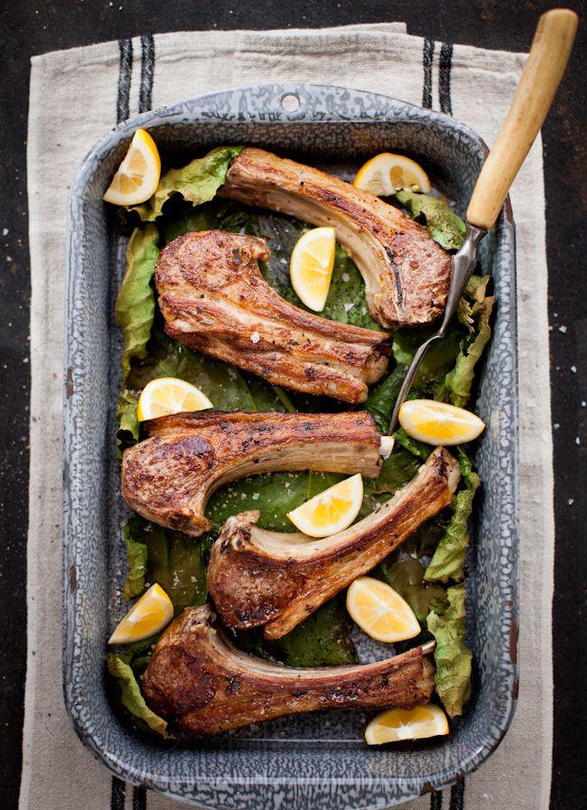 Succulent Lamb Chops Nestled in Fresh Fig Leaves   + Lemon Cucumber Tzatziki on Yummy Supper