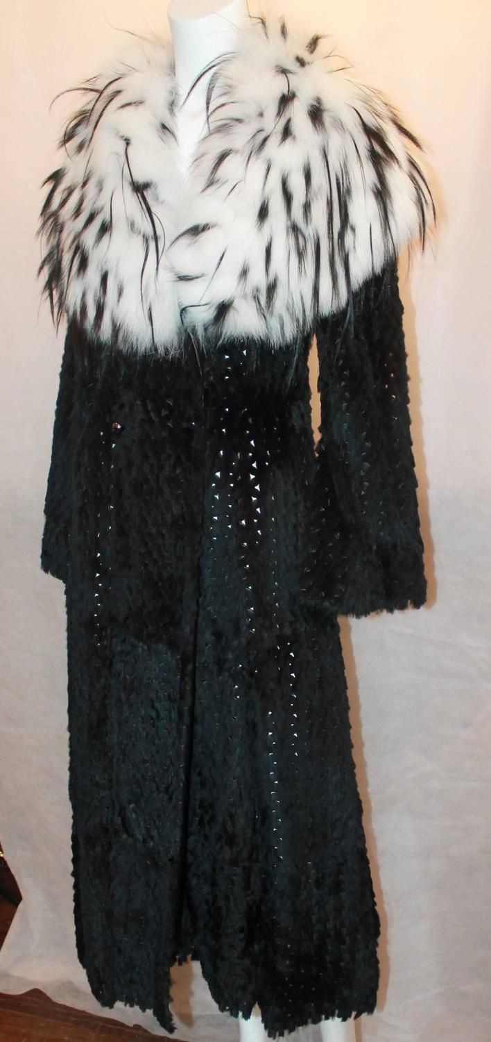 Rare Runway Armani Black Sheared Mink Knitted Coat with Fox Collar - 40