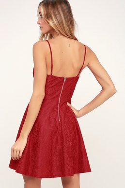 cd8755e90b8 Way With Words Berry Red Lace Skater Dress