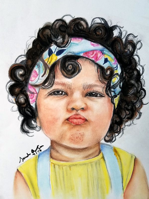 how to draw a little girl with curly hair