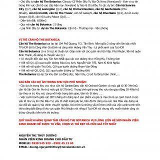 THÔNG TIN CHUNG VỀ CĂN HỘ THE BOTANICA: - Chủ đầu tư căn hộ The Botanica: Công ty Cổ Phần Đầu Tư Địa Ốc Nova (NovaLand) - Đơn vị uy tín trong lĩnh vực căn h. http://slidehot.com/resources/thong-tin-chung-ve-can-ho-the-botanica.35463/