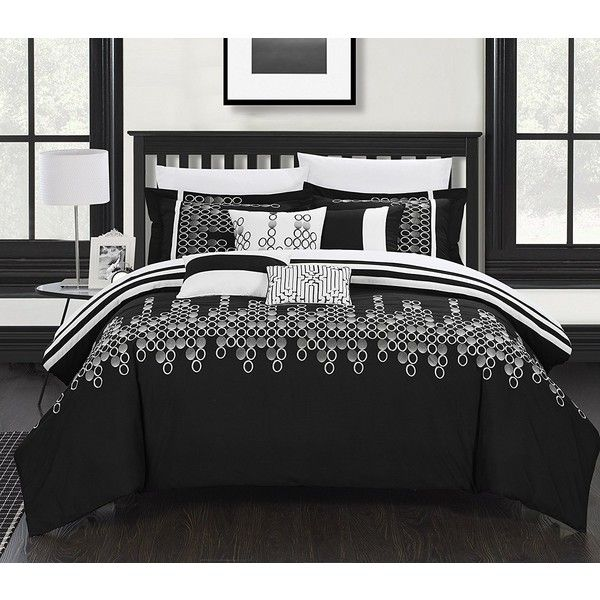 AmazonSmile: Chic Home 8-Piece Lauren Contemporary Comforter Set,... (150 CAD) ❤ liked on Polyvore featuring home, bed & bath, bedding, comforters, black bedding, black queen comforter, queen bed linens, queen comforter sets and black comforter set