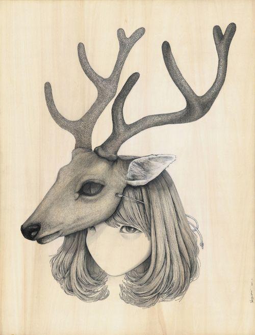 illustration girl x deer