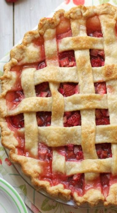 strawberry rhubarb pie. Thebakerchick blog is very impressive and I love the unique recipes! I will definitely be returning.