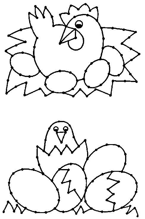 sliepka a kuriatka vyšívanie na papier