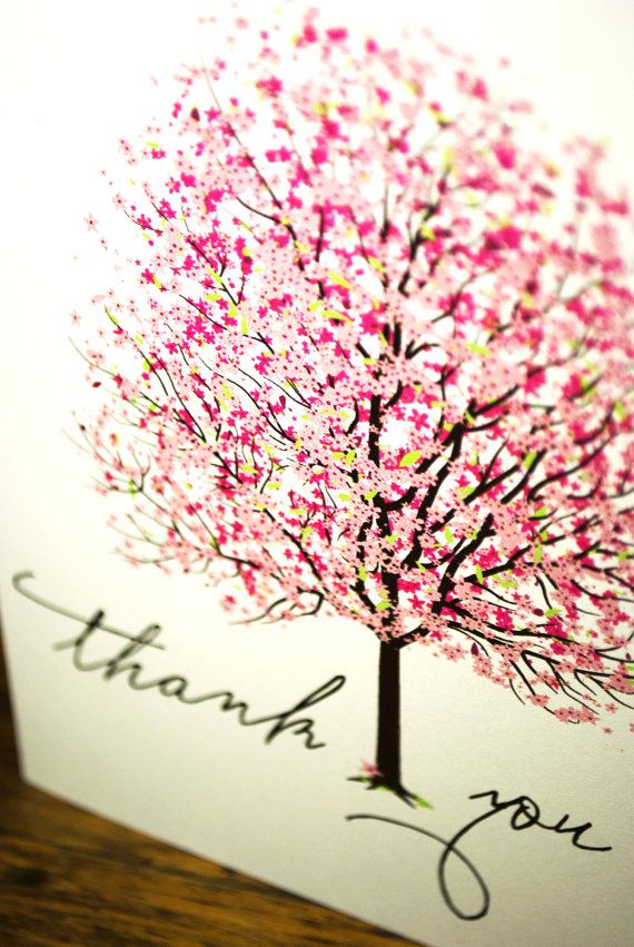 Thank You Cards Bright Pink and Colourful Cherry by nvcreative, $5.00 bunu extradan beğendim :))