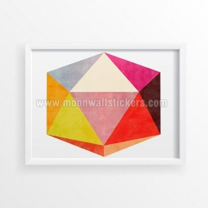 Optical Illusion 3D Shape Effect Geometric Poster - Moon Wall Stickers