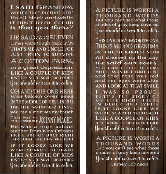In Color Lyrics Jamey Johson Set of 2 Wood Signs or Canvas Wall Hangings - Christmas Gift, Grandfather Gift, Father's Day