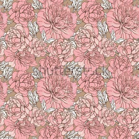 vintage-seamless-color-peony-pattern-on-gray-background-vector-illustration_101767639.jpg (450×450)