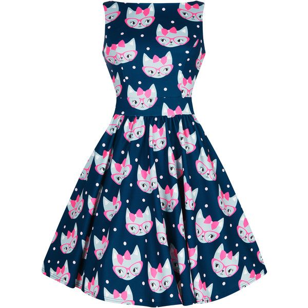 Retro Cat Print Tea Dress ($62) ❤ liked on Polyvore featuring dresses, vintage day dress, blue dress, vintage style dresses, retro dresses and cat print dress