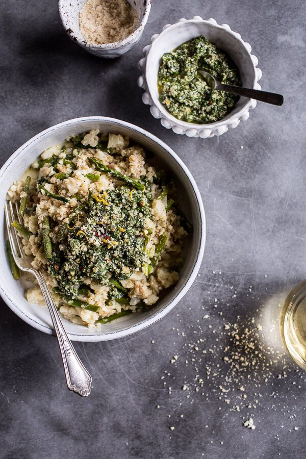 "Quick Cauliflower ""Risotto"" with Asparagus + Cilantro-Basil Hemp Seed Pesto, a quick, satisfyingly delicious grain free dish from halfbakedharvest.com"