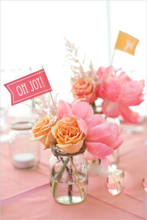 pink and orange floral arrangements