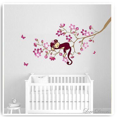 Monkey Balloon Jungle Wall Stickers Children's Bedroom Nursery Decal Decor Tree