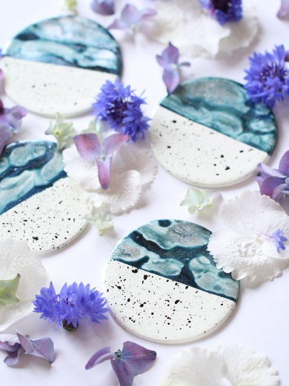 Polymer Clay Coasters  Petrol Blue Silver Handmade by Mahalolena