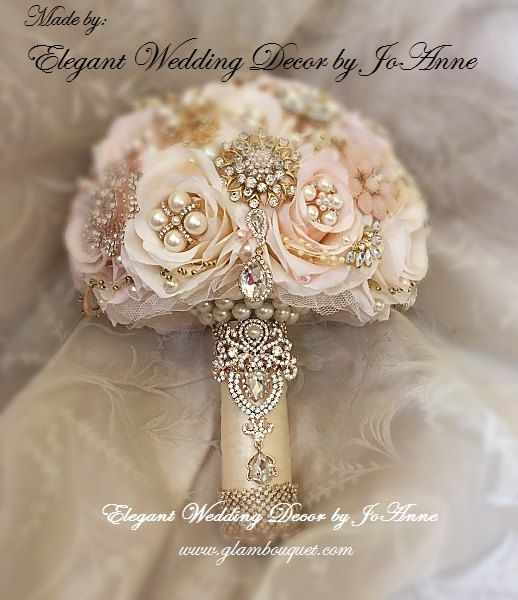 ROSE GOLD BRIDAL BROOCH BOUQUET - $499 (Promo Full Price) ___CUSTOM BROOCH BOUQUET DETAILS _________________ Custom Handmade Silk Flower Bridal Brooch Bouquet. Colors are Blush Pink and Ivory Mixed with a combination of both Gold and Rose Gold Brooches and Gems with Pearl accents. Gorgeous Elegant Brooch Bouquet Design. Very Vintage Glam. This Stunning Brooch Bouquet is a Lush 9.5 Size ( approx 27 in circumference ). 100% Custom made and can be customized if necessary. Please do allow min…