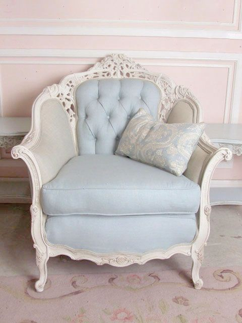 Shabby Chic pale blue armchair
