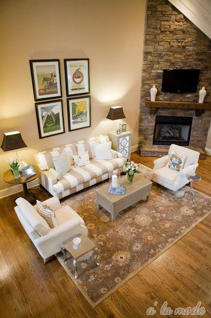 how to hang artwork on a tall wall or a room with vaulted or cathedral ceiling