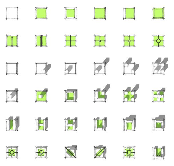 Jorge Cham- PhD Comics This is a diagram depicting aerial views of different designs of city blocks, including site walkways, green space, building massing and the resulting shadows.  This is a successful diagram because it takes four important aspects of city block design and represents them in a way that is easy to read, even when showed in conjunction with each other. Each aspect is differentiated from the others based on line quality and color, making them clear to the viewer.
