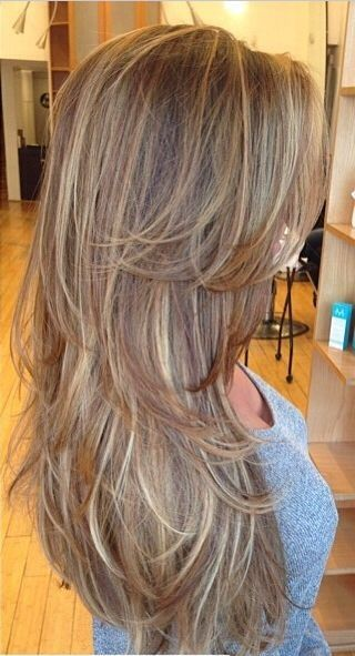 Lovely layers and highlights for long hairstyles.