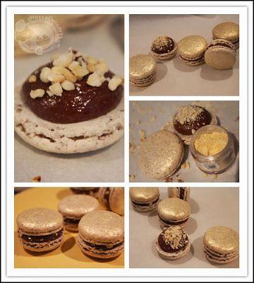 Ferrero Rocher Macarons * Shell - Hazelnut meal, edible gold dust * Filling - Hazelnut chocolate ganache