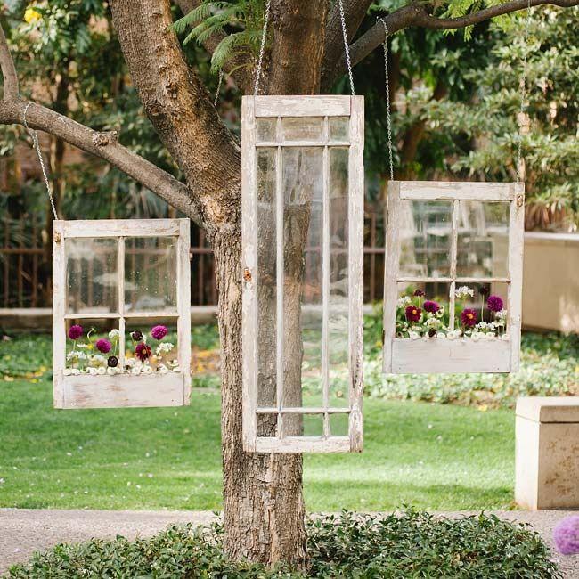 Simple Outdoor Wedding Ideas: Hanging Antique Window Ceremony Decor // Luminaire Images