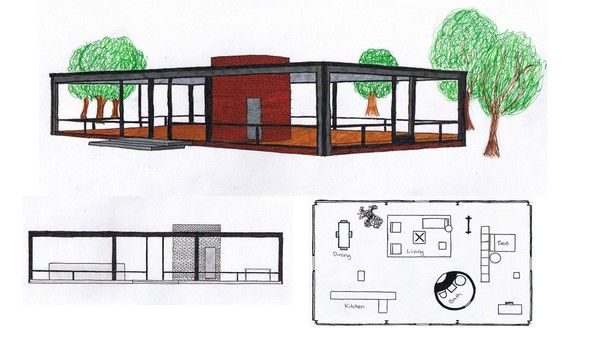 The philip johnson 1949 39 glass house 39 floor plan and a 3 d for Modern glass house floor plans