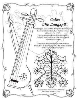 Learn about a beautiful stringed instrument from Iceland – the Langspil. Free coloring page from the WORLD MSUIC WITH DARIA TPT store.