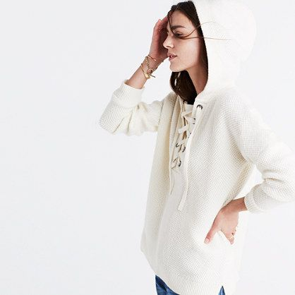 A cozy wafflestitch hoodie with a nod-to-nautical lace-up detail. Warm and cozy without being can't-bend-your-arms thick. <ul><li>Extrafine merino wool.</li><li>Hand wash.</li><li>Import.</li></ul>