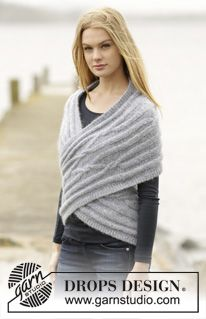 "Infinity - Knitted DROPS shoulder piece with cables and short rows in ""Air"". Size: XS - XXXL. - Free pattern by DROPS Design"