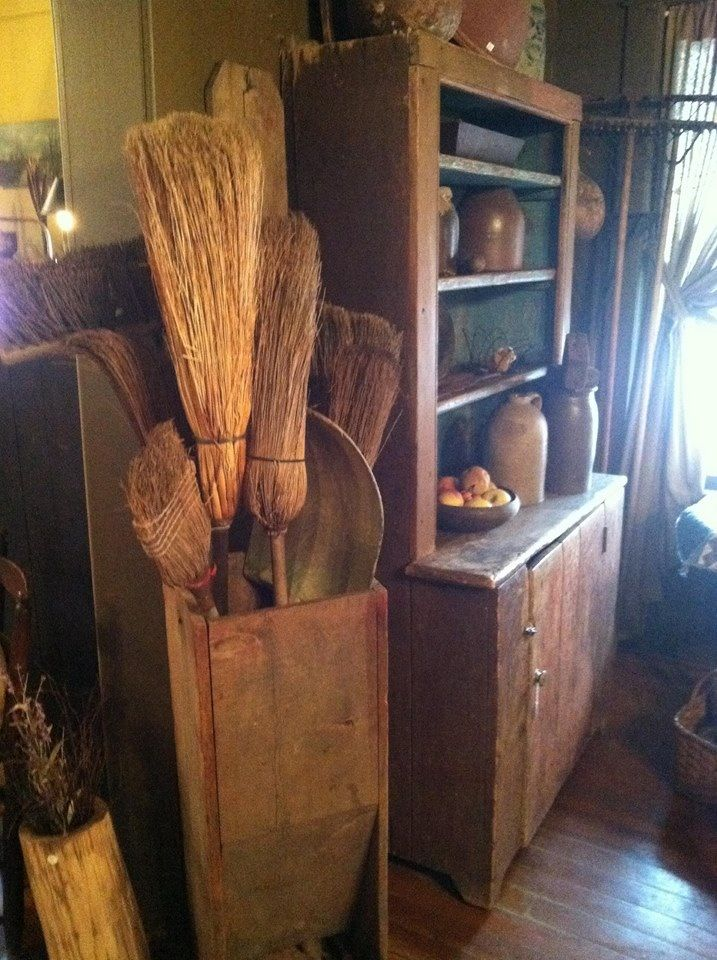 the country farm home  decorating with something simple     brooms