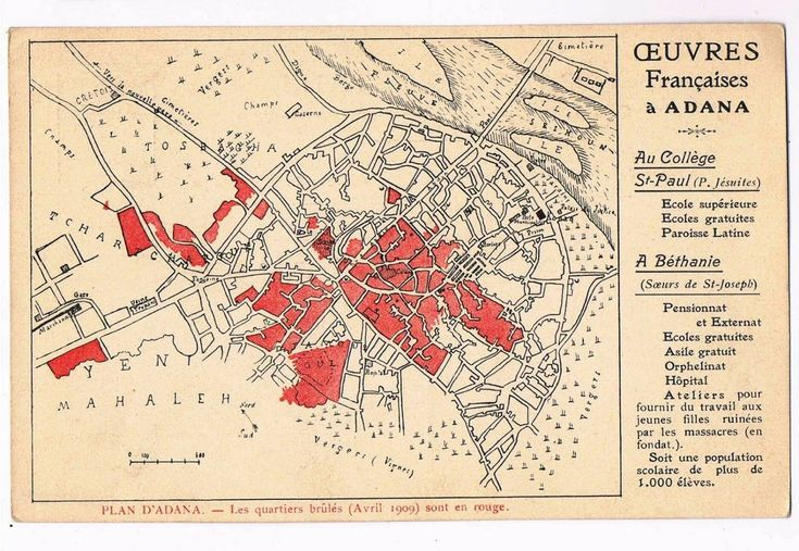 French postcard: 1909 Map of Adana showing areas burned during massacres.