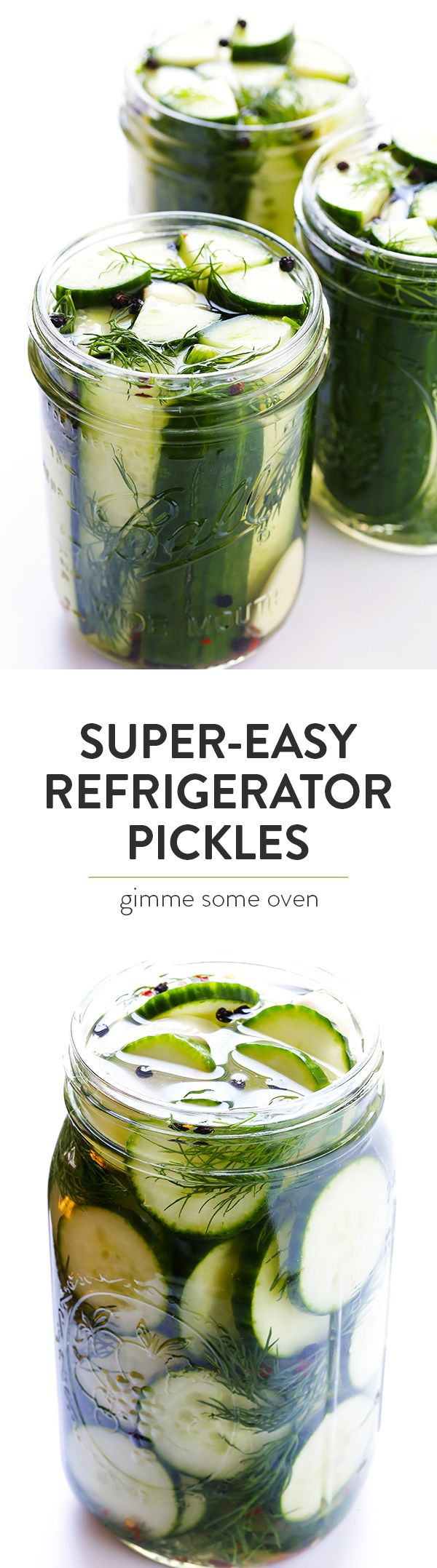 This Easy Refrigerator Pickles recipe only takes about 5 minutes to prep, and makes perfectly crisp and delicious pickles that you'll LOVE! | gimmesomeoven.com (Vegan / Gluten-Free)