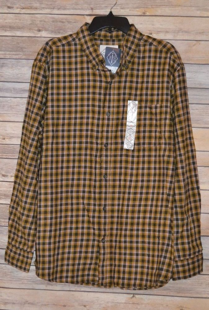 75304b4f40 MENS LEGACY FLANNEL PLAID SHIRT SIZE  XL COLOR  GOLD BROWN PLAID - LONG  SLEEVE  StJohnsBay  ButtonFront