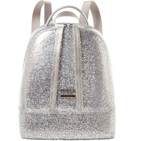 Furla Furla Women's Candy Mini Glitter Backpack - Silver (610 BRL) ❤ liked on Polyvore featuring bags, backpacks, backpack, silver, backpack bags, glitter backpack, day pack backpack, glitter bag and silver bag