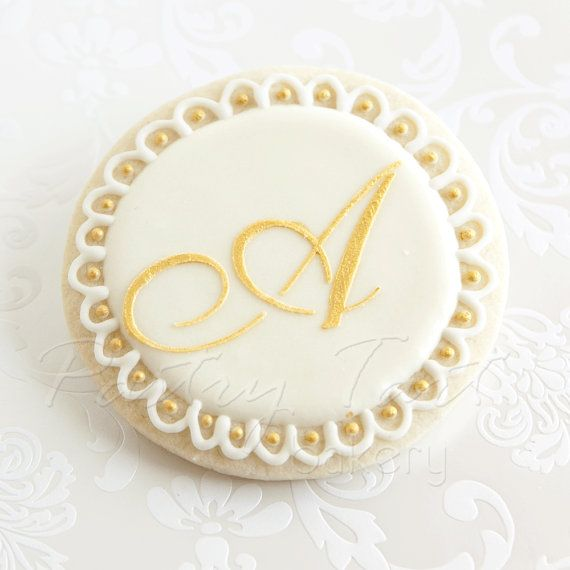 Gold and White Vintage Lace Monogram Letter Wedding Cookies // 1 doz. // Wedding Bridal Shower Initial Personalized // Preservative Free