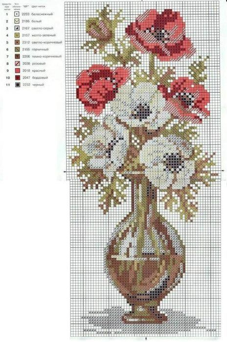 Cross stitch  *♥* Point de croix  Fleurs