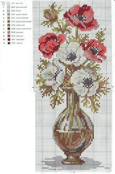 Cross stitch *♥* Point de croix Fleurs
