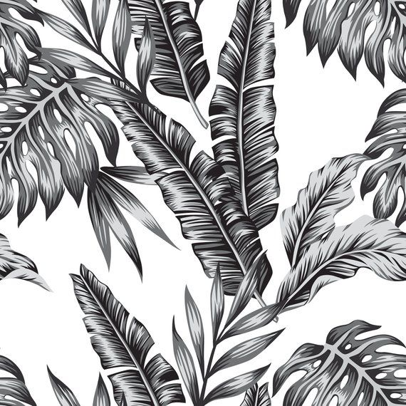 Tropical Black And White Removable Wallpaper Tropical Wallpaper Botanical Self Adhesive Floral Wallpaper B168 27 In 2021 Jungle Wallpaper Jungle Pattern Tropical Wallpaper