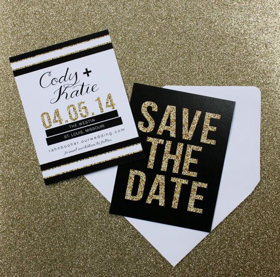 jen glitter glam modern save the date gold black and white check out the website