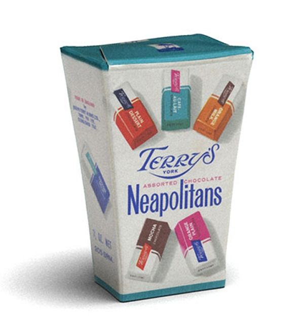 terry's neapolitan chocolate - a Christmas favourite in our house. I loved the orange one and the dark blue one.