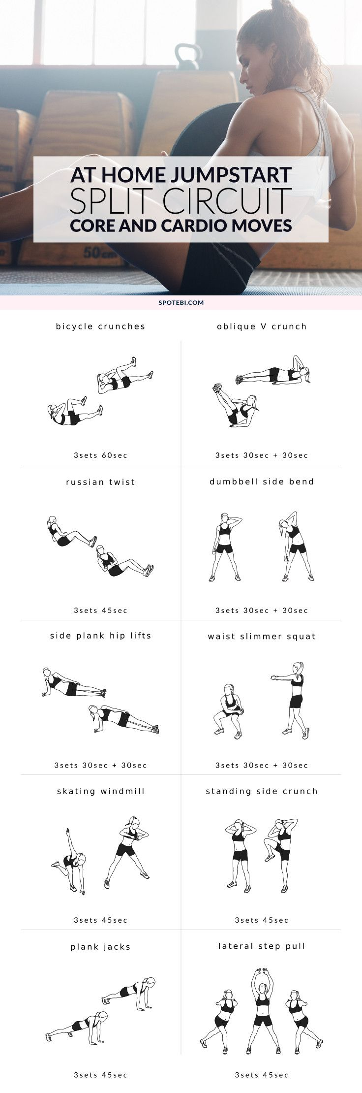 Work your abs, obliques, and the transverse abdominals to slim down your waist and sculpt a tight, toned tummy. This core and cardio split circuit will help burn off your belly fat for up to 48 hours after the workout is over! http://www.spotebi.com/workout-routines/core-cardio-split-workout/