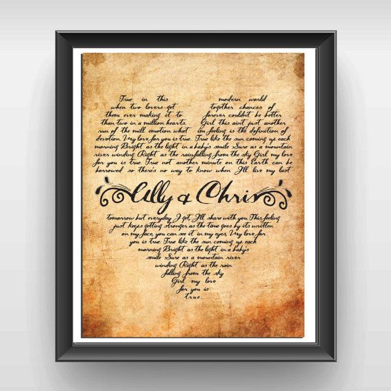 Unique Wedding Gift Personalized Vows Wedding Song Print